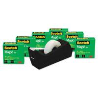 """Scotch Magic Tape Value Pack w/C38 Dispenser 3/4"""" x 1000"""" 1"""" Core Clear 6/Pack"""