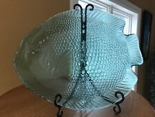 Glass Fish Platter Serving Tray Arcoroc France Large Approx.15x12 Aqua /Teal Vtg