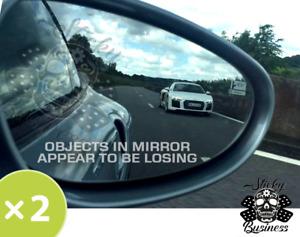 2x Objects in mirror appear to be losing WHITE VINYL Sticker Drift Race JDM