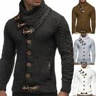 Mens Fashion Cardigan Knitted Sweater Cowl Neck Horn Button Single Breasted Pop.