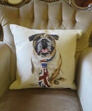 QUALITY BRITISH BULLDOG ANTIQUE STYLE UNION JACK TAPESTRY DOG CUSHION COVER ONLY