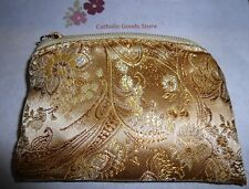 Gold Brocade Zippered Lined Rosary or Chaplet Pouch