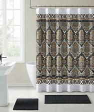 VCNY Fabric Shower Curtain Floral Damask with Geometric Border Design Black/Gold