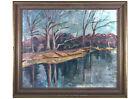 Framed Mid 20th Century Oil - Winter River