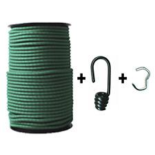 100m Expanderseil ø 6mm grün +100 Spiralhaken +Klemmen