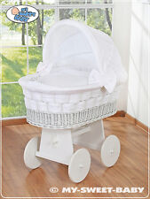 NEW BABY LARGE WICKER CRIB / MOSES BASKET WITH STAND, BEDDING & MATTRESS - white