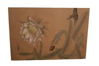 """Peinture sur soie asiatique signé """"Papillon fleuri"""" fin XIXème"""