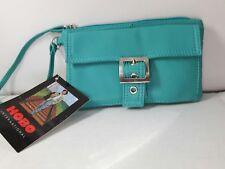 NWT Hobo International leather wristlet wallet organizer purse teal blue