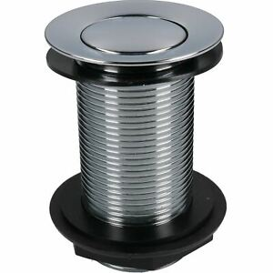 """11/4"""" (32mm) Chrome Plated Spring Press to Lift Plug Basin Waste Drain Unslotted"""