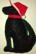 BLACK LABRADOR DOG in a SANTA HAT door hanger FELT CHRISTMAS TREE DECORATION