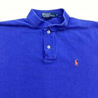 Polo Ralph Lauren Polo Shirt Mens M Blue Short Sleeve 100% Cotton Hi Low Hem