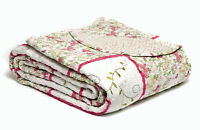 Beautiful 100% Cotton Real Patchwork Quilt Bedspread Pink Floral Shabby Chic Set