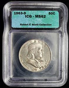 1963 D Franklin Half Dollar 50c ICG MS 62