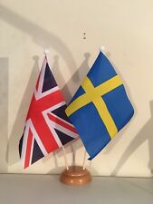 """UNION JACK AND SWEDEN TWIN TABLE FLAG SET with WOODEN BASE 9""""X6"""" FLAGS"""