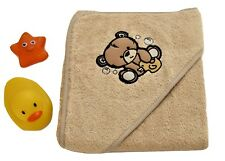 100% Cotton Baby Hooded Towel Boys Girls Beige  Bear Design  75*75 cm 0m+