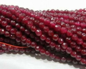 """Natural 6-8-10mm Faceted Brazil Red Ruby Gemstones Loose Beads 15"""" AAA+++"""