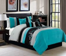 7pc Luxury Floral Leaves Scroll Embroidery Teal Gray Black Comforter Set, Full