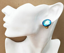 Gorgeous AB Blue Faceted Button Stud CLIP ON Earrings *NEW* from a UK seller