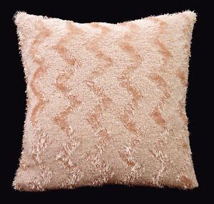 fd02a Nude Pink Soft Fleece Zig Zag Wave Cushion Cover/Pillow Case Custom Size