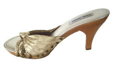 Steve Madden Womens Lizi Heels Gold Leather Sandals Party Sexy Shoes Size 9.5M