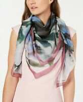 Vince Camuto Watercolor Flowers Silk Square Scarf, Lightweight, Chambray