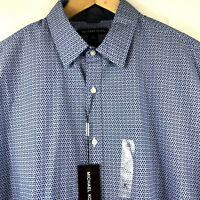 Michael Kors Mens Long Sleeve Shirt Slim Fit Marine Blue Print Size XL $89.50