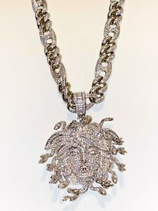 Men 14k White Gold Fill Stamp Medusa Miami Cuben Chain Pendant Lifetime Warranty