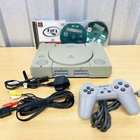 Sony PlayStation 1 PS1 Console Bundle - All Leads, Controller & 3 Games