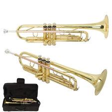 New Golden B Bb Professional Trumpet Flat Brass + Mouthpiece Gloves + Case