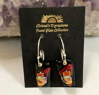 Fused Dichroic Glass Dangle Earrings Handmade