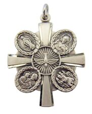 Sterling Silver 4-Way Medal 1 1/4 Inch Holy Dove Pendant with Latin Cross Center