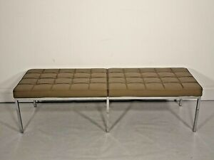 Immaculate Florence Knoll 2/3 seater bench seat in Fawn leather