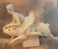 Terrific Art Deco 1920's Style Girl Riding On A Pig~ Pin Cushion Doll Dish