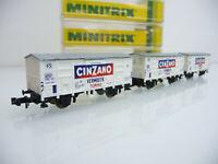 Minitrix N 1:160 13603 3-teiliger gedeckter Güterwagen Zug CINZANO mit OVP