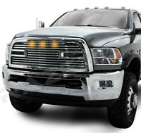 Big Horn 2+Amber LED Chrome Packaged Grille+Shell for 10-18 Dodge RAM 2500+3500