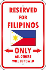 Philippines Reserved Parking Only Filipino 12X18 Aluminum Metal Sign