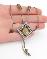 DESIGNER 925 Silver - Vintage Smoky Topaz Beaded Thin Chain Necklace - N3682