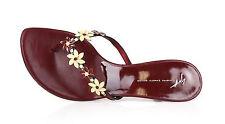 Giuseppe Zanotti Vicini 1023 Beaded Floral Burgundy Flip Flop Heels Size 39.5