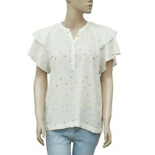 188332 New Antik Batik Embroidered Flutter Sleeve Ruffle White Blouse Top M 8650388f2