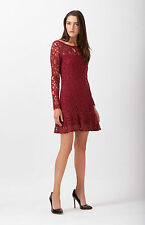 Hale Bob Long Sleeve Lace Dress w Peplum Hem XXS XS NWT 3PMF6213