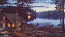 "Darrell Bush Life's Rewards Cabin Lake Print-Signed  23"" x 13.5"