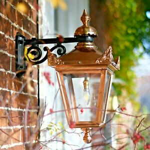 USED Ex-Display Copper Victorian Wall Mounted Lantern With Black Top Fix Bracket
