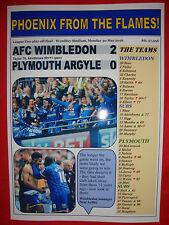 AFC Wimbledon 2 Plymouth 0 - 2016 League Two play-off final - souvenir print