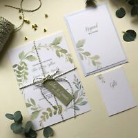 Luxury Wedding invitations, green leaves. Wedding Invites modern design