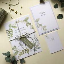 Beautiful Foliage wreath wedding invitations, green leaves. wedding invite