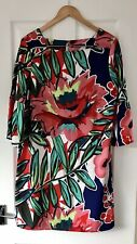 MARKS AND SPENCER M&S BLUE BRIGHT FLORAL SHIFT DRESS UK 14 SQUARE NECK