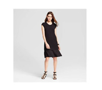 New Women's Mini Cap Sleeve Layered Shift Dress Mossimo  Black Size-XS