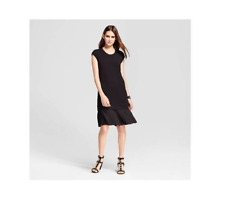 New Women's Mini Cap Sleeve Layered Shift Dress Mossimo  Black Size L