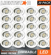 20 x DIMMABLE LED Gimbal Downlight Kits White 10W 600Lm 240V GU10 Warm White