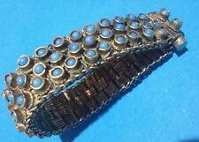 Vintage Bracelet Ethnic Cabochon Opaline Bleue Métal Argenté